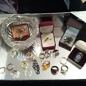 Womens 22pc Fashion&Silver Rings Lot+Crystal Bowl